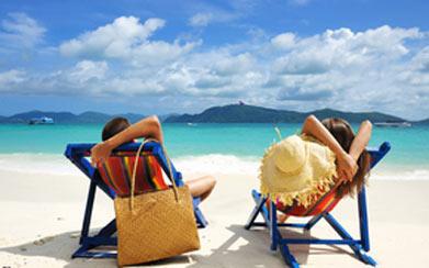 a couple in long chair in san blas islands