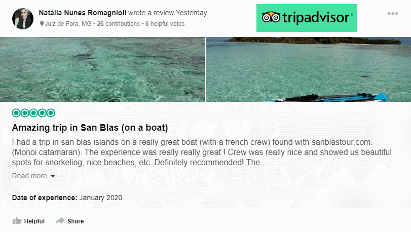 Tripadvisor review for catamaran MONOI charter in san blas